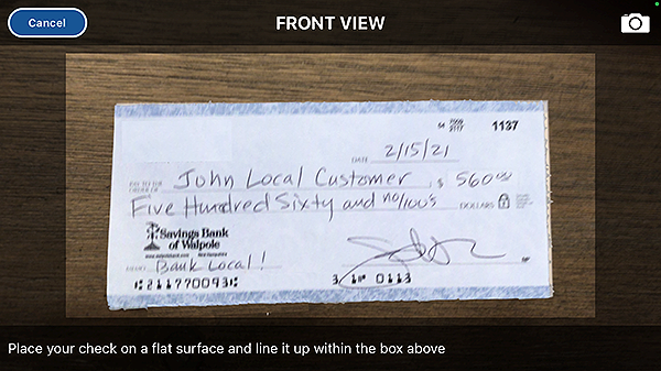 mobile deposit front of check